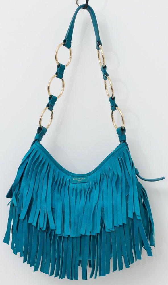 60fb5cde8b YSL YVES SAINT LAURENT Horn La Boheme Bohemian Fringe Blue Suede Leather  Handbag