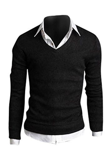 0701056329069   #jeansian #Herren #Slim #Fit #Long #Sleeves #Casual #Shirts #Pullover #Sweater #8806 #Black #L #[Apparel]