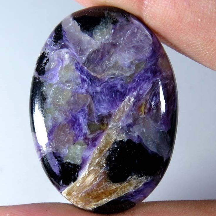 34.80Cts. 100% NATURAL CHAROITE OVAL CABOCHON RUSSIAN LOOSE GEMSTONE UNTREATED
