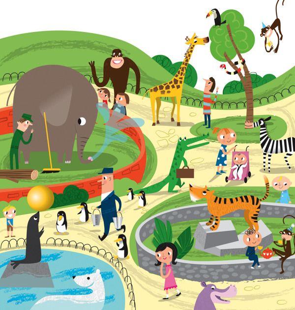 Busy Zoo Nila Aye Zoo Drawing Children Illustration