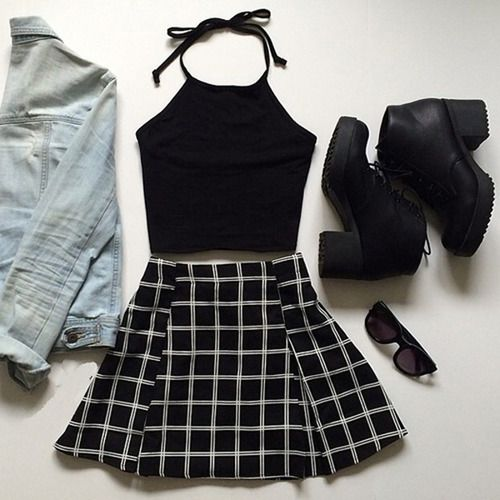 Cute grunge outfit with the black tank, denim jacket, black and white patterned skirt, black booties, and sunglasses.✌️