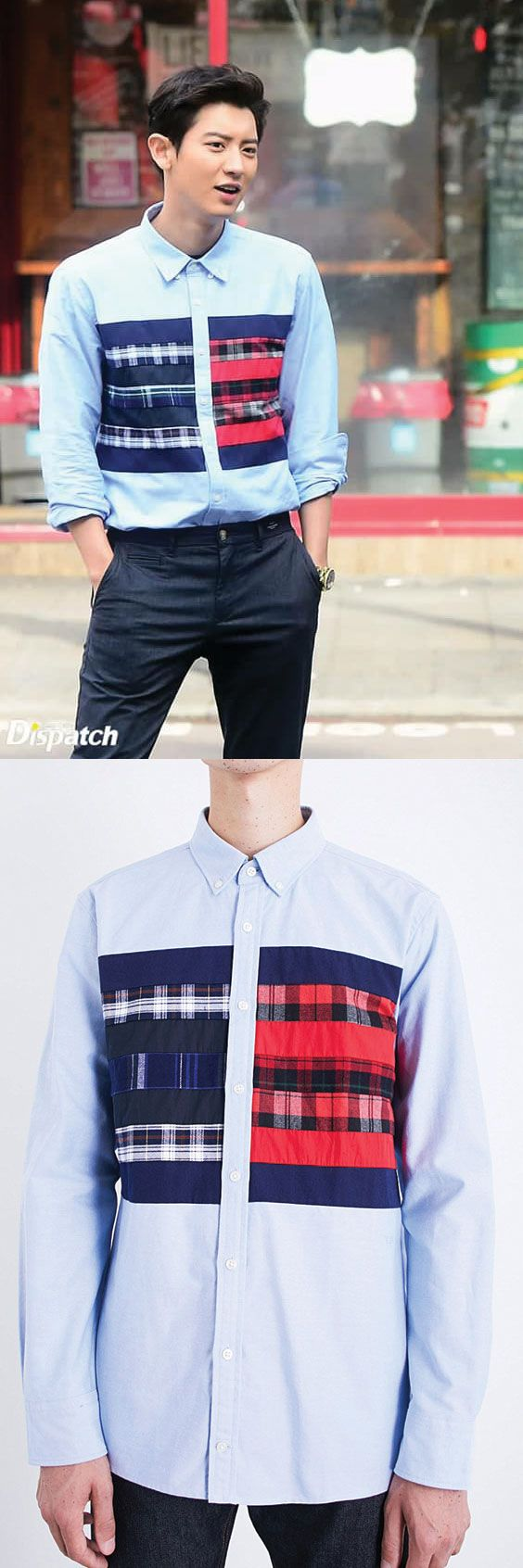 Chanyeol EXO on Tommy Hilfiger Hilfiger Editions regular-fit Flag Logo cotton Oxford shirt. Click here to get oxford like chanyeol exo #kpop #idol #exo #chanyeol