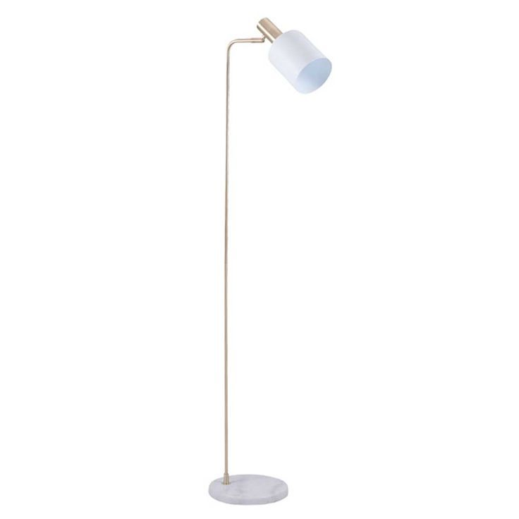 From barker and stonehouse · finished in polished brass with a white metal shade and marble base this floor lamp