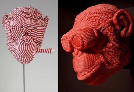 Beautiful sculptures created by talented Brazilian sculptor Mozart Guerra.      The artist makes realistic three-dimensional models of animal and human heads and then wraps them with nylon rope.