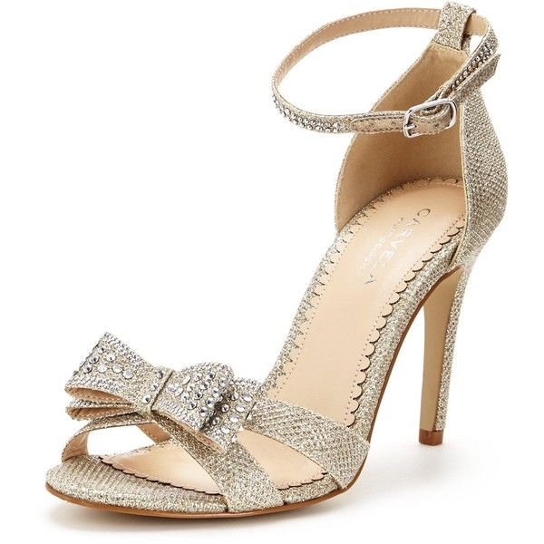 Carvela Lianna&Nbsp;Sparkle Wedding Sandal With Bow ($160) ❤ liked on Polyvore featuring shoes, sandals, carvela shoes, glitter sandals, glitter shoes, peep toe sandals and glitter high heel shoes