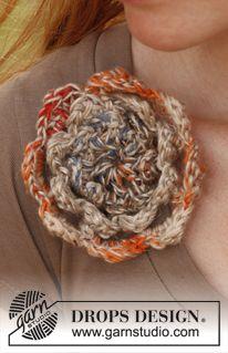 "Crochet DROPS flower in ""Fabel"" and ""Lin"". ~ DROPS Design"