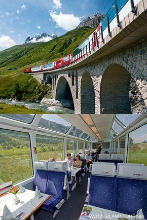 Glacier Express: viaja de leste a oeste através dos Alpes suíços, tendo como…