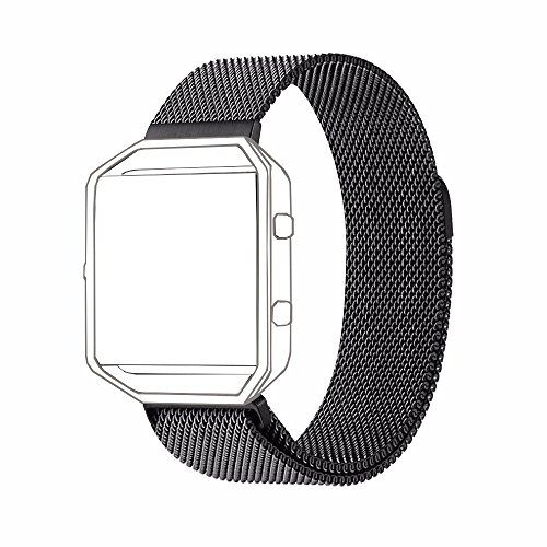 Fitbit Blaze Band Large (6.1-9.3 in) PUGO TOP Milanese Loop Stainless Steel Wristband for Fitbit Blaze Smart Fitness Watch and Fitbit Blaze Special Edition Large Black (Frame Not Included)