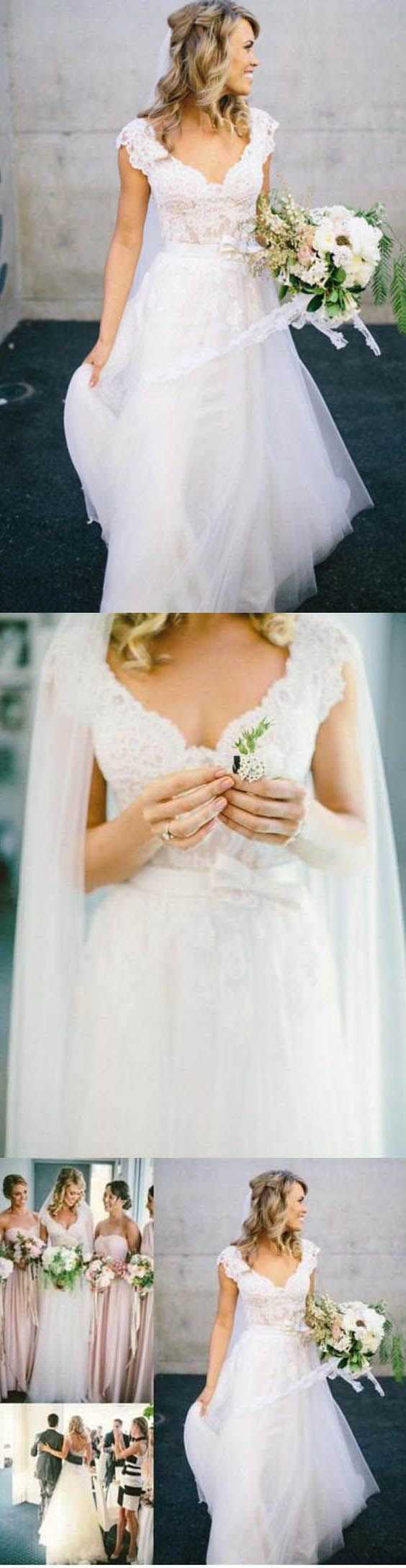Boat neck lace wedding dress october 2018  best Wedding dress images on Pinterest