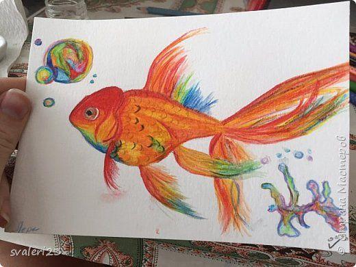 Watercolor pencils. Goldfish. Lesson  Акварельные карандаши. Золотая рыбка. Мастер класс