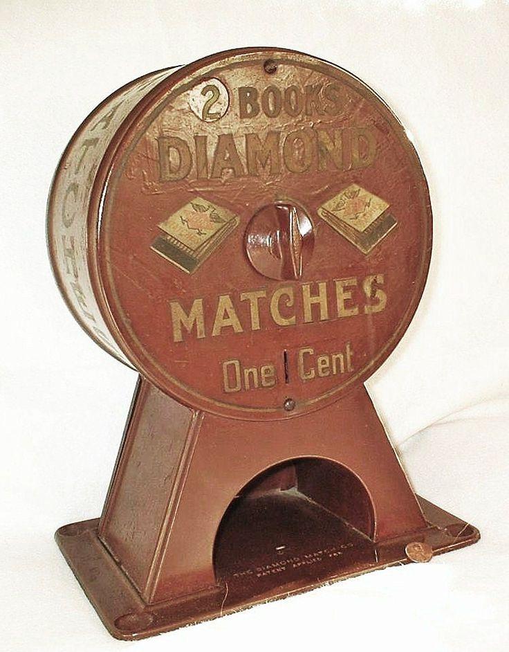 Early 1900s Diamond Matchbook Vending Machine - Vintage Advertising Counter Dispenser
