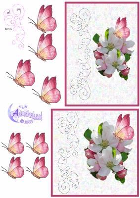 Apple Blossom Card Front on Craftsuprint designed by Diana Hutchinson - A stitching pattern (or piercing) card front in two sizes with delicate apple blossom and butterfly decoupage. - Now available for download!