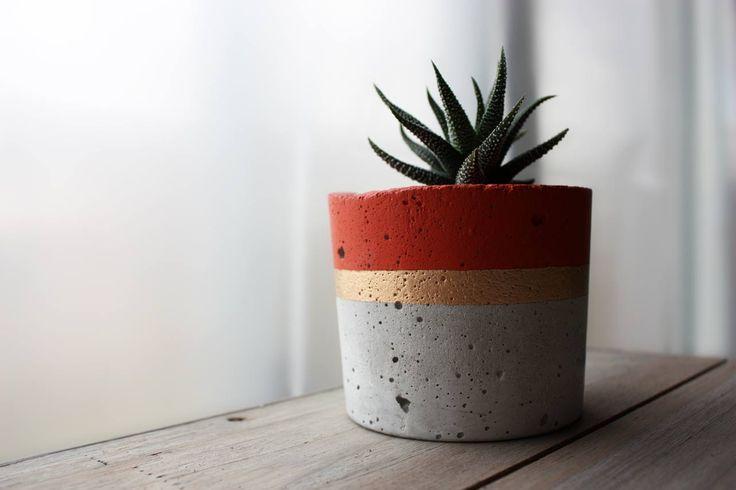 Concrete Planter - Burnt Orange & Gold
