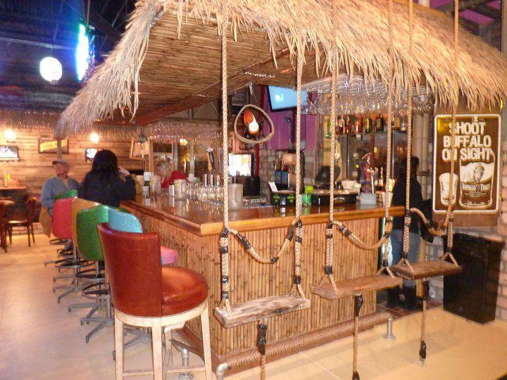 Tiki Bar - I like the swing bar stool idea