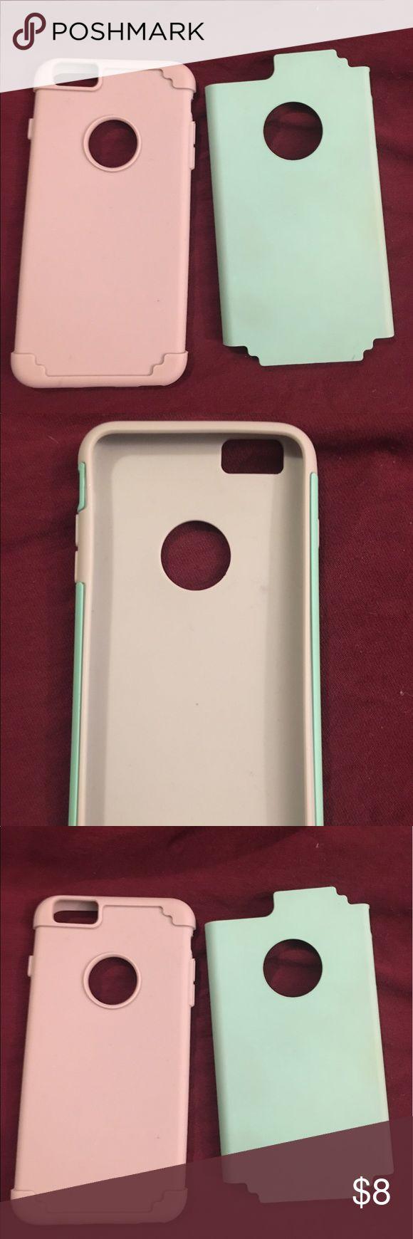 Sea foam green iPhone six plus case! iPhone six plus case. Gray rubber like case with detachable sea foam green back. Other