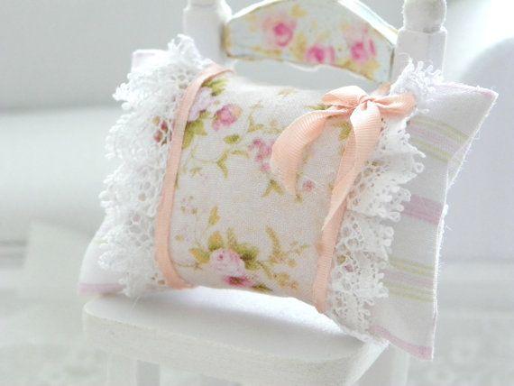 dollhouse  shabby chic miniatures pillow by Mondinadollhouse, €6.00