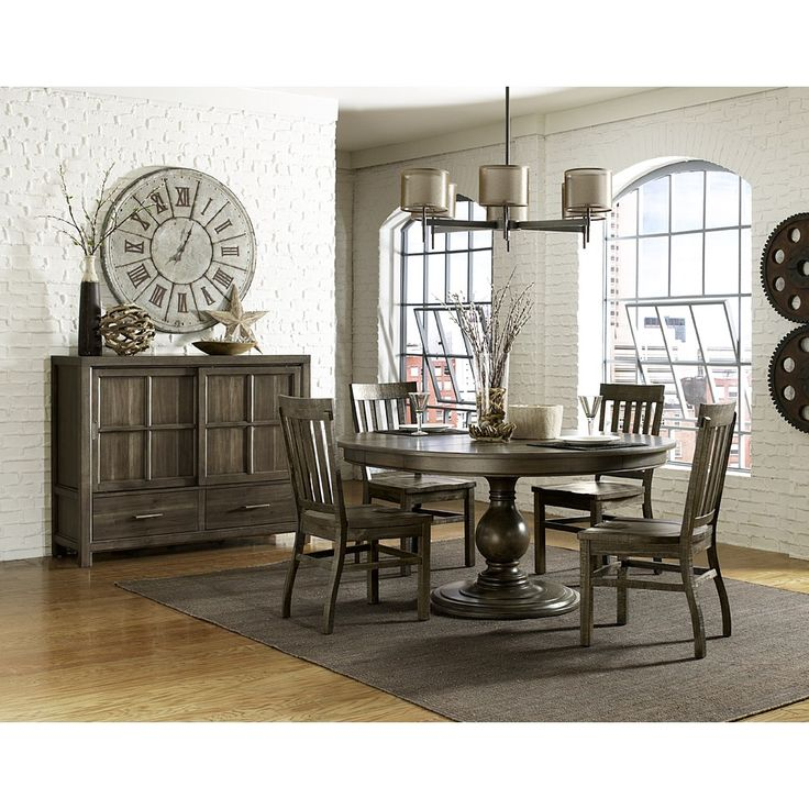 Karlin Wood Round / Oval Dining Table U0026 Chairs In Dry Grey Acacia By  Magnussen Home