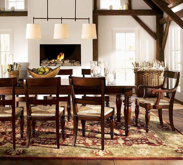 dining room in rustic style wooden furniture statement lighting. Black Bedroom Furniture Sets. Home Design Ideas