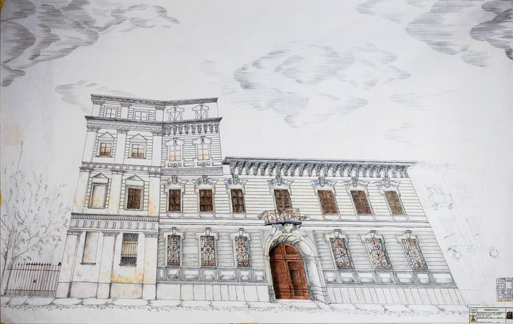 """""""Casa Bossi"""" by Alessandro Antonelli - perspective -Indirect relief - Ink and coloured pencils on paper"""