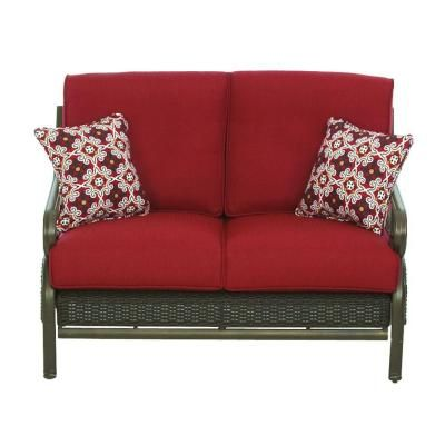 Martha Stewart Living Cedar Island All Weather Wicker Patio Loveseat With  Chili Cushion
