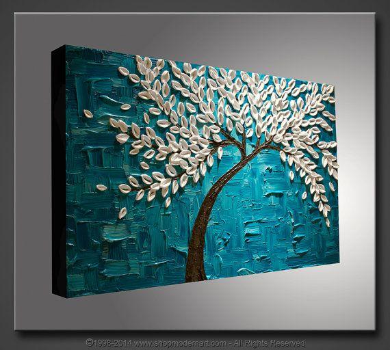 Grande 36 x 24x1.5pintura abstracta Original del cuchillo