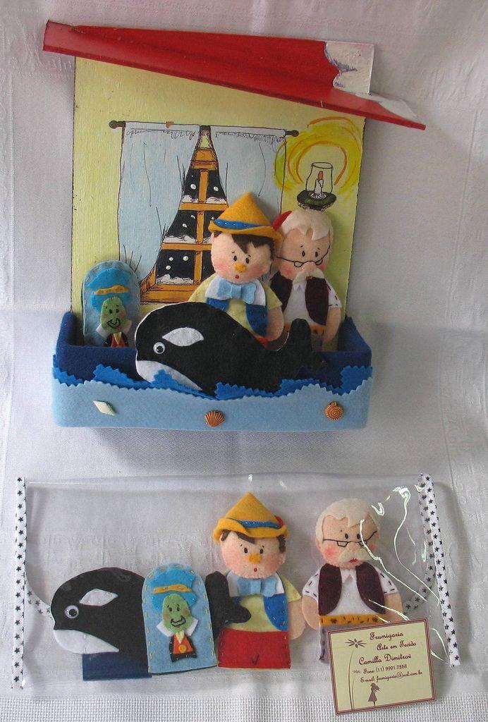 https://flic.kr/p/6FHBJW | Dedoches Pinóquio | Dedoches Pinóquio - contendo 4 personagens em caixa cenário, pintada à mão, com aplicação em feltro ou em carteirinha plástica. Contato: frumigaria@uol.com.br