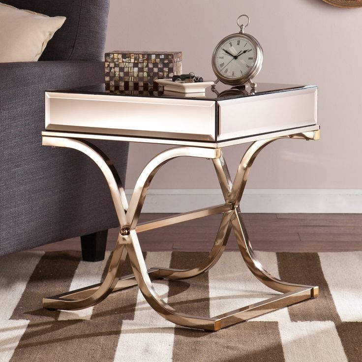 southern enterprises ava mirrored end table from
