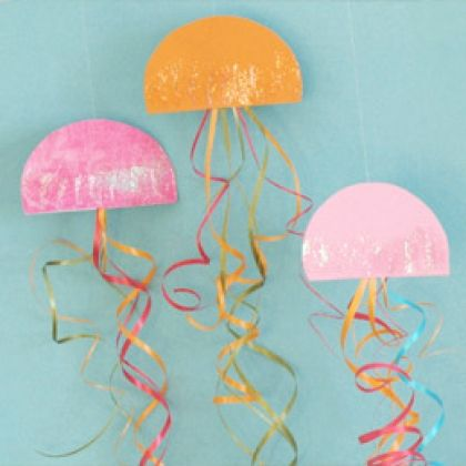Cute and easy craftivity or decorations or both!    What you'll need  Template for Jazzy Jellyfish  Scissors   Craft paper   Glitter glue   Curling ribbon   Monofilament (for hanging the jellyfish)   Glue dots