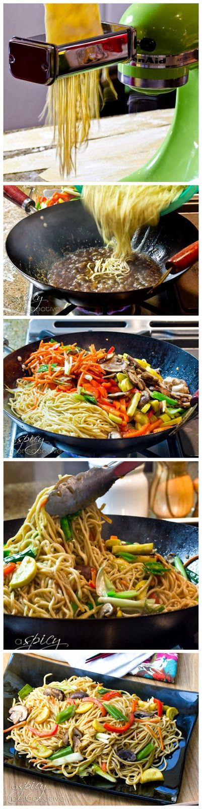 "Wonder if this could be made with coconut flour""""?Vegetable Lo Mein Recipe with Homemade Noodles - Askmefood"