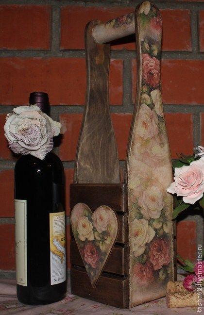 `Розы` Короб для бутылки. Короб для бутылки с винтажными розами.