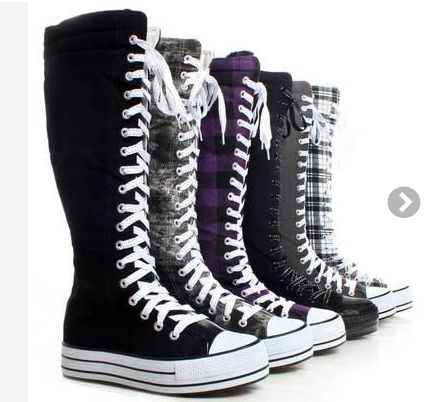 Canvas Platform Sneakers Ladies Punk Womens Skate Shoes Lace Up Knee High Boots
