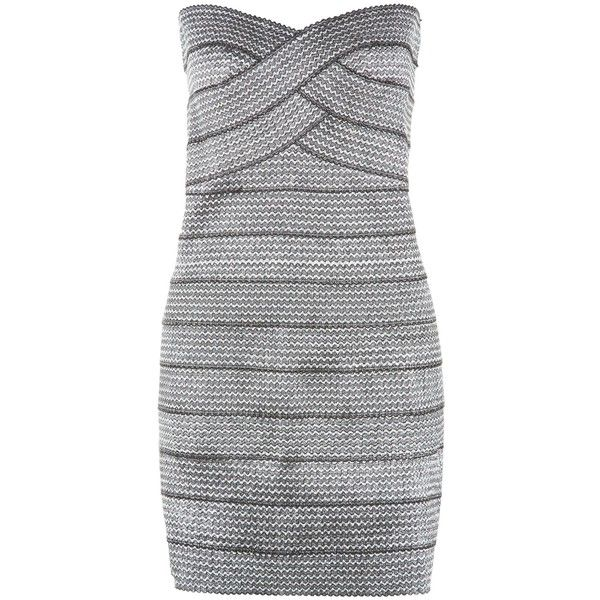 New Look Blue Vanilla Silver Textured Bandeau Bodycon Dress ($9.08) ❤ liked on Polyvore featuring dresses, silver, going out dresses, mini dress, body conscious dress, night out dresses and zip dress