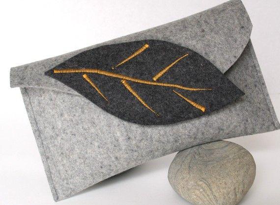 Autumn Inspired Wool Felt Clutch in Gray Merino by fuzzylogicfelt, $48.00
