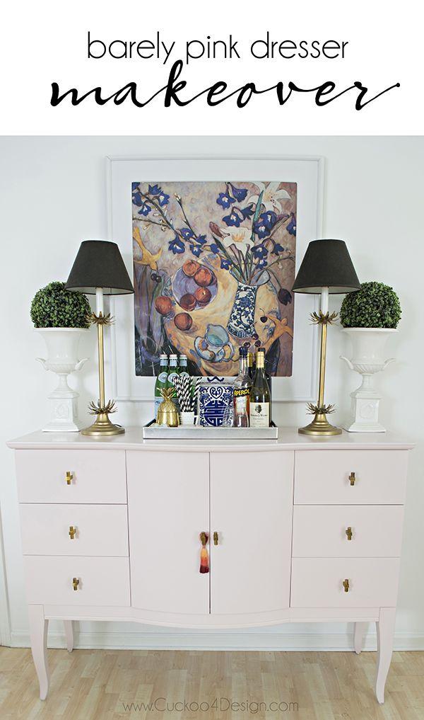 Quartz Pink Dresser Makeover Dark Wood DresserPink Dining RoomsDresser