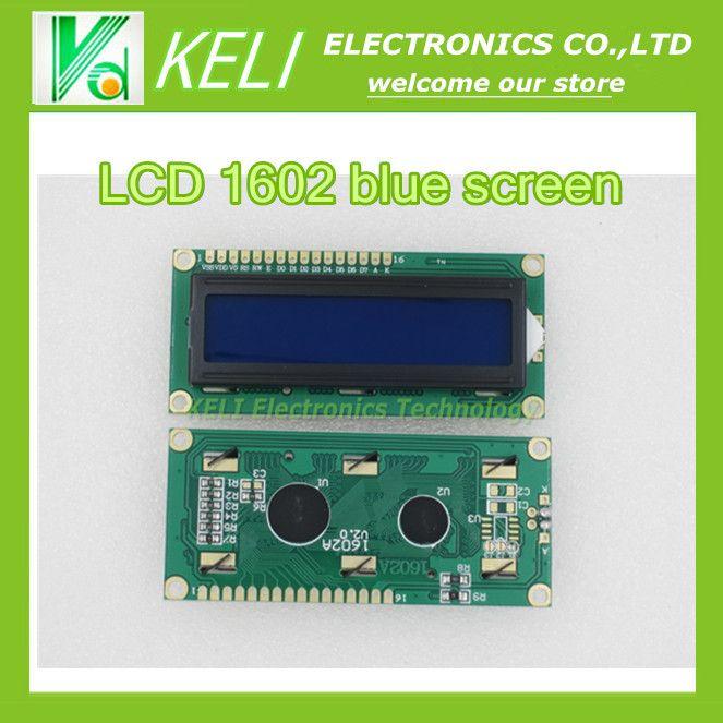 Gratis pengiriman 10 PCS lcd 1602 layar biru LCD Karakter Modul Tampilan Biru Blacklight Baru 16X2