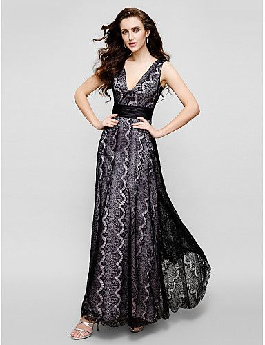 Sheath / Column V-neck Ankle Length Lace Prom Formal Evening Black Tie Gala Dress with Lace by TS Couture®