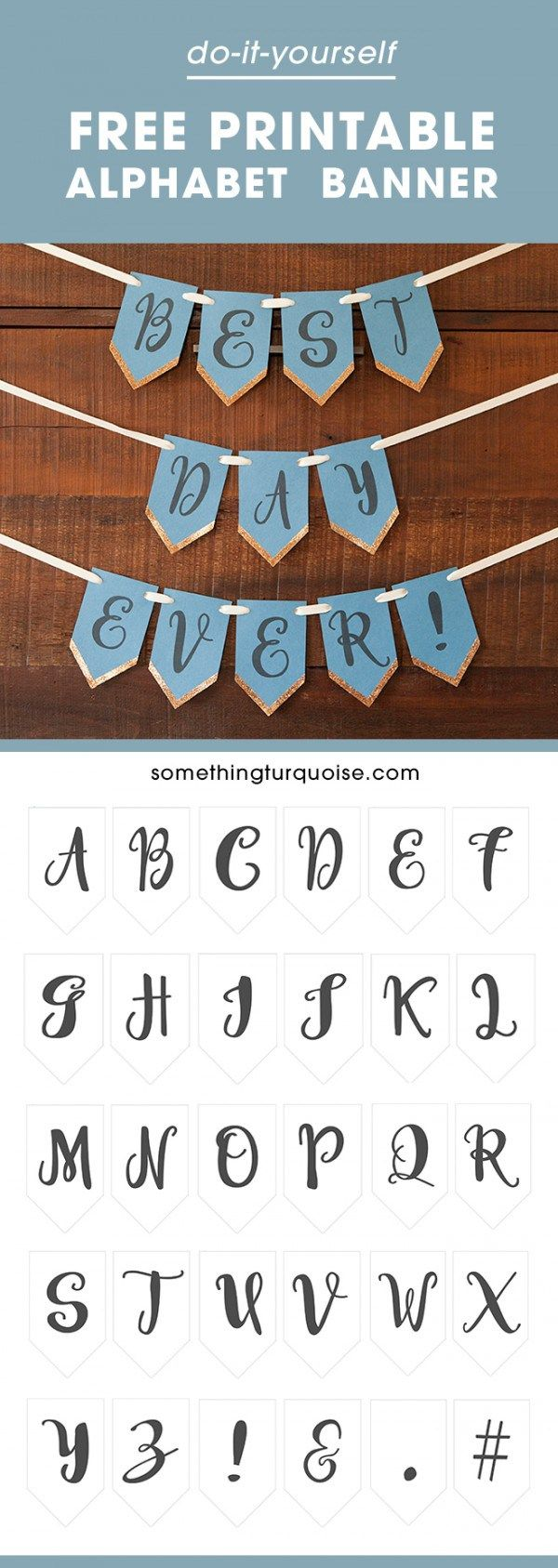 """Loads of Banners online only have"""" Happy Birthday"""" or """"Just Married"""" lettering. This free printable gives you ALL the letters of the Alphabet so you can write whatever you w…"""