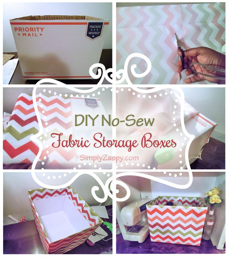 DIY Fabric Boxes (No-Sew) - Spice up your shelf/desk with these cute & simple No-Sew DIY Fabric Boxes! For under $10 you can have the look & storage you want!