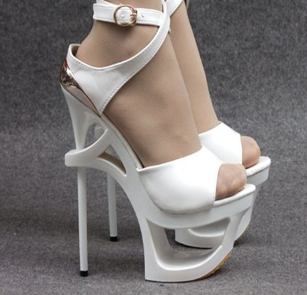 Женщины туфли на платформе 16 см белый черный летом сексуальный стиль гладиатор лакированная кожа тонкие каблуки сандалии ультра высокие каблуки вырез купить на AliExpress