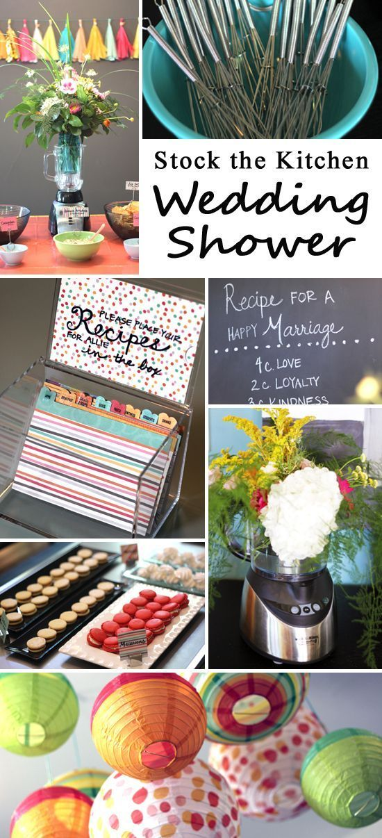 Stock the Kitchen is a perfect theme for a wedding/bridal shower and this post is full of tips for kitchen themed activities, decor, games and favors!