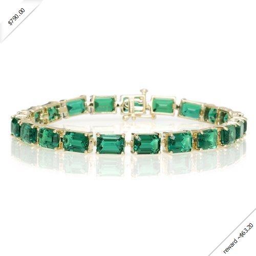 "10k Yellow Gold Emerald Cut Created Emerald Bracelet, 7""Gemstones Bracelets, Yellow Gold, Emerald Cut, Cut Create, Emeralds Bracelets, Emeralds Cut, Create Emeralds, 10K Yellow, Gold Emeralds"