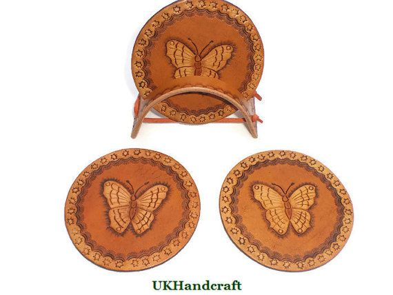 Leather Coaster Set of 4 or 6 Butterfly Leather by UKHandcraft