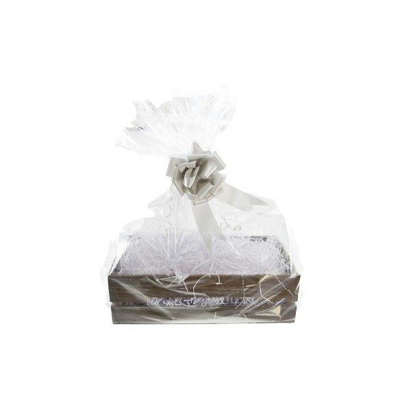 Shelton Large Crate (Christmas Gift Kit) White Shred, Silver Bow