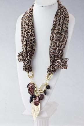 Silky Animal Prints Scarf with Leaf Charms & Stones NEW FREE shipping $17.90