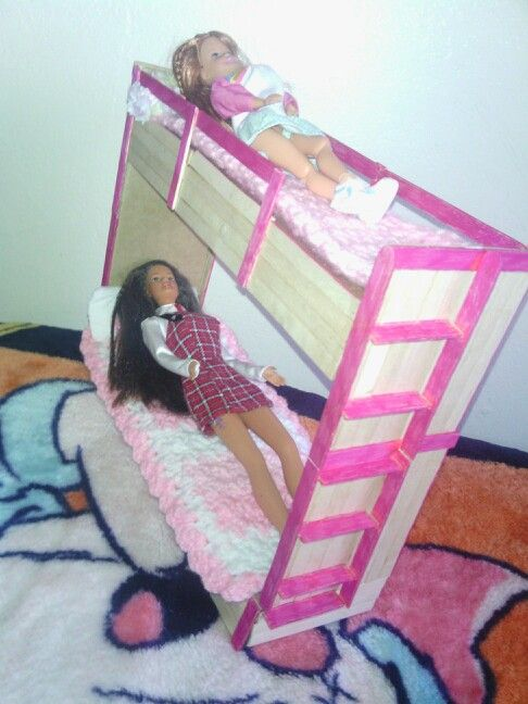 Barbie Bunk Bed Out Of Cardboard And Popsicle Sticks.