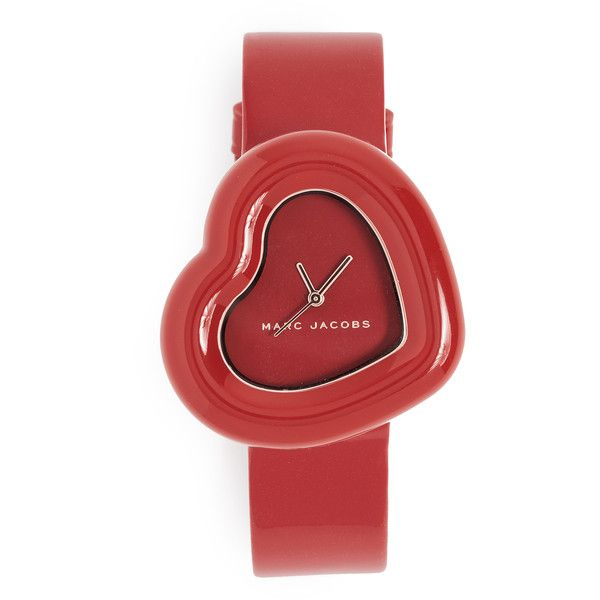 Marc Jacobs Heart Watch ($150) ❤ liked on Polyvore featuring jewelry, watches, red, red watches, dial watches, red jewellery, red heart jewelry and red dial watches