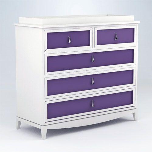 Revenna Regency Five Drawer Changer in White and Purple