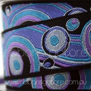 blue/lavender/black circles ribbon (23mm wide) [per metre]