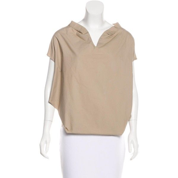 Pre-owned Marni V-Neck Short Sleeve Top ($75) ❤ liked on Polyvore featuring tops, neutrals, marni top, v-neck tops, deep v neck top, beige top and marni