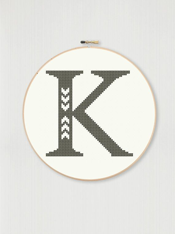 Cross stitch letter K pattern with chevron detail, instant digital download